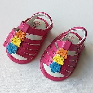 Pink and Flower Baby Girl Sandals * Size 0-3M